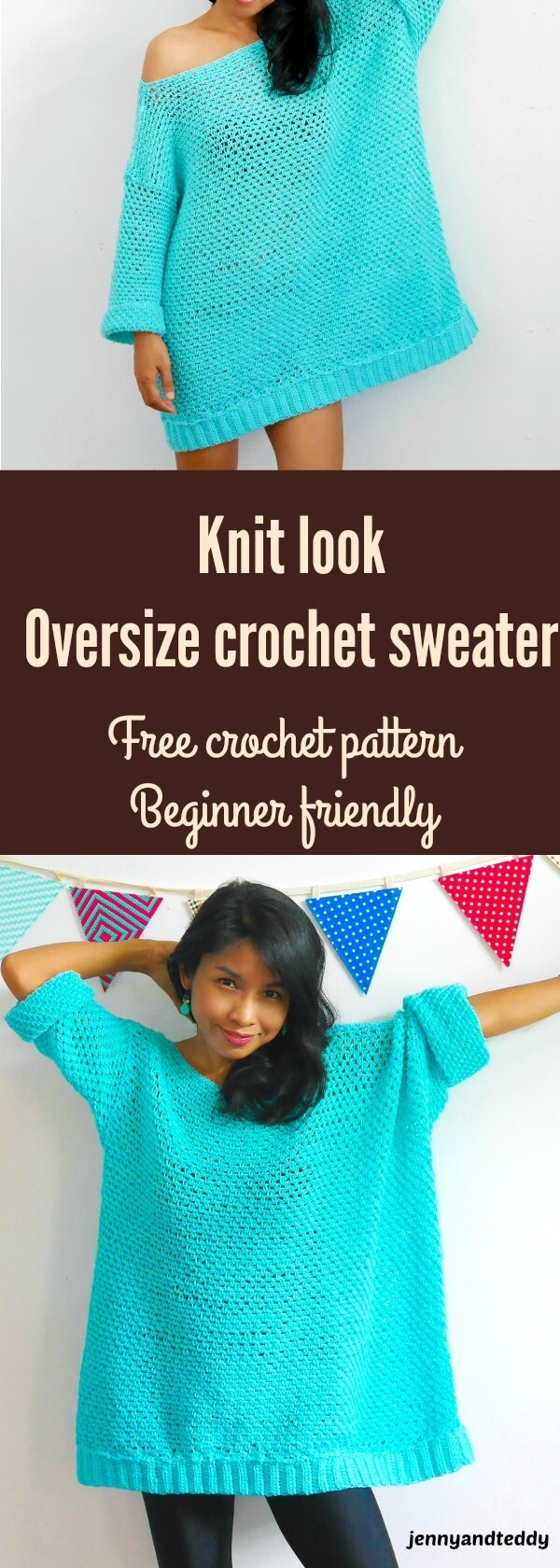 Free Sweater Patterns To Knit Knit Look Oversize Crochet Sweater Free Pattern
