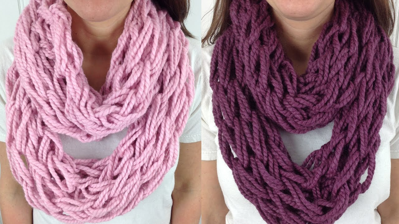 Hand Knit Scarf Pattern 30 Minute Arm Knit Infinity Scarf Cowl With Lion Brand Wool Ease Left Handed