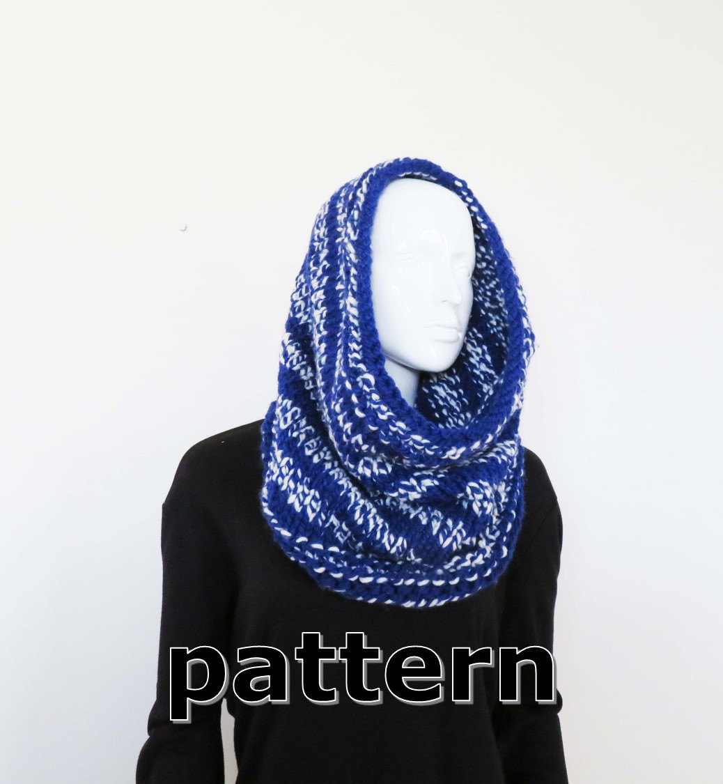 Hand Knit Scarf Pattern Cowl Knitting Pattern Diy Self Striping Hand Knit Scarf Women Or Mens Hand Knitted Scarf Snood Tutorial Unisex Hand Knit Loop Scarf