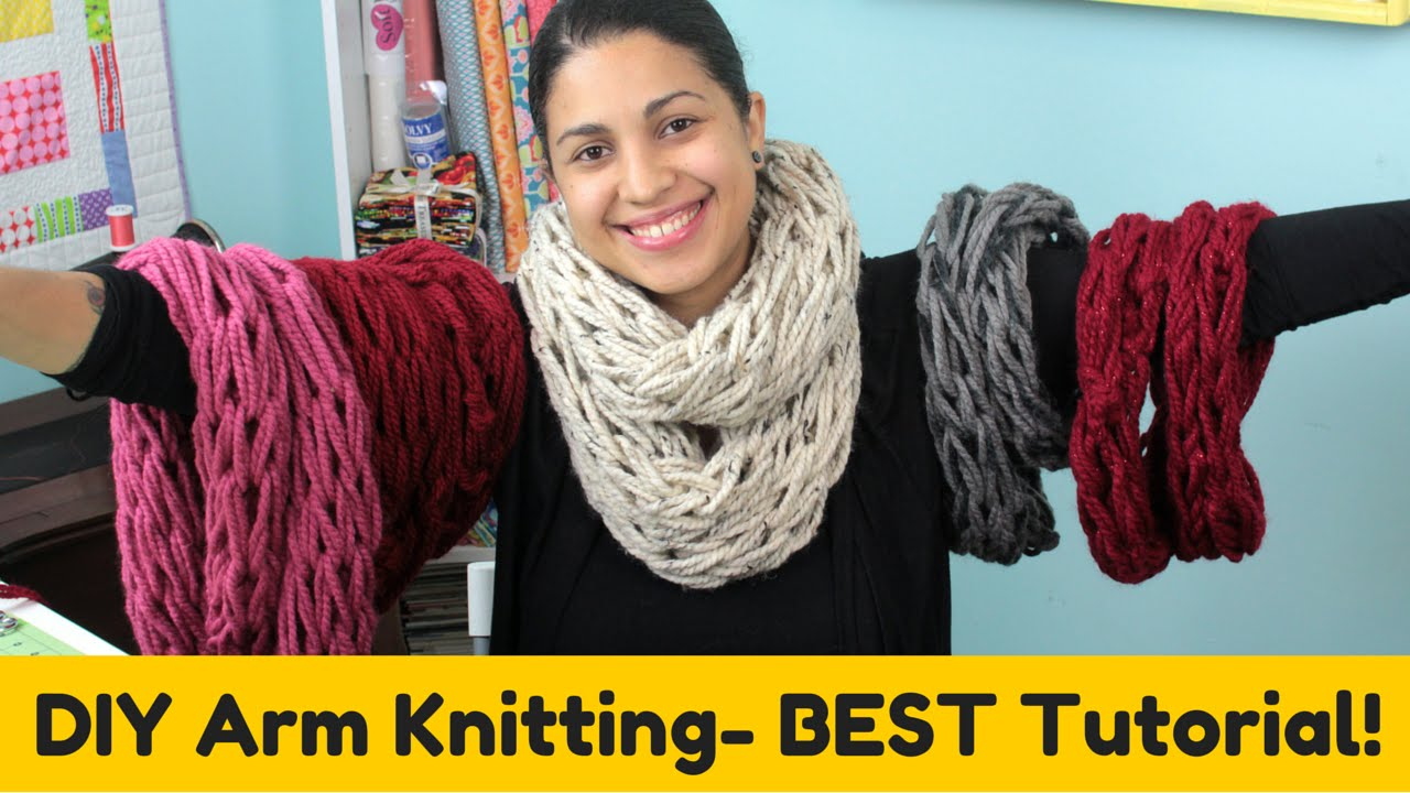 Hand Knit Scarf Pattern Diy Arm Knitting Infinity Scarf Cowl Best Tutorial
