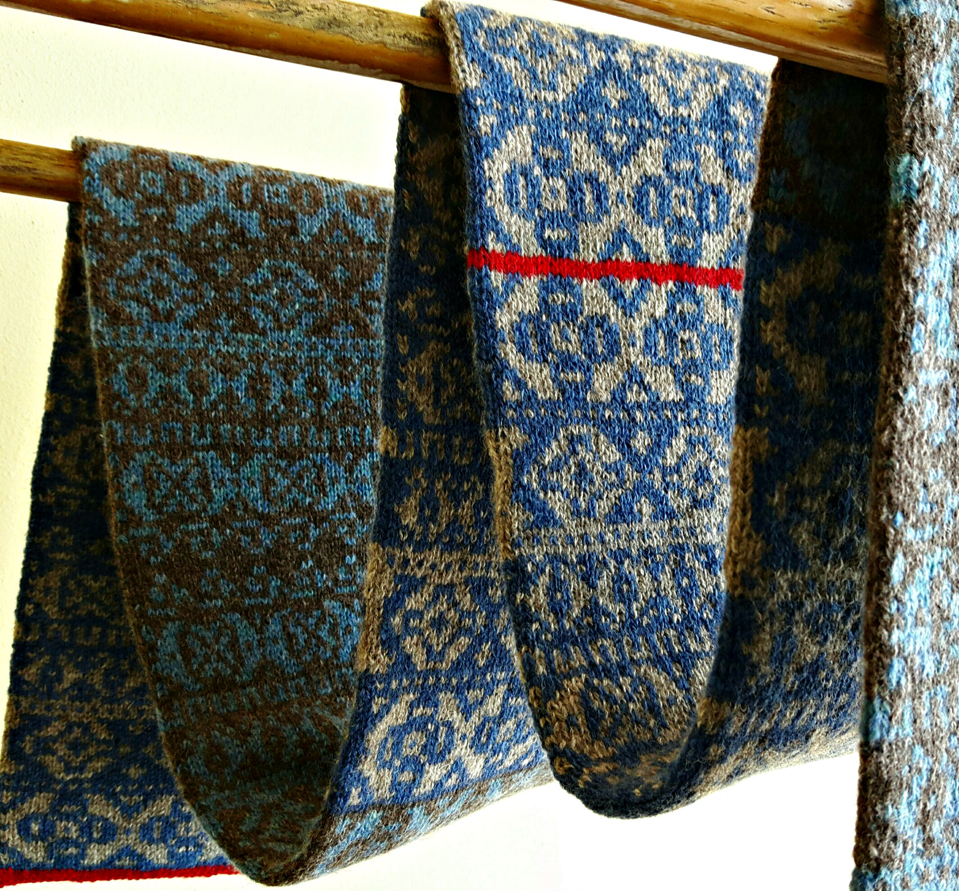 Hand Knit Scarf Pattern Fair Isle Hand Knit Scarf In Blues And Greys This Man Knits