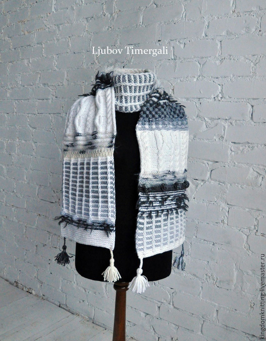 Hand Knit Scarf Pattern Knitted Scarf Crochet Hand Knit Long White Black Stripes Scarves Shop Online On Livemaster With Shipping Ap1cxcom Moscow