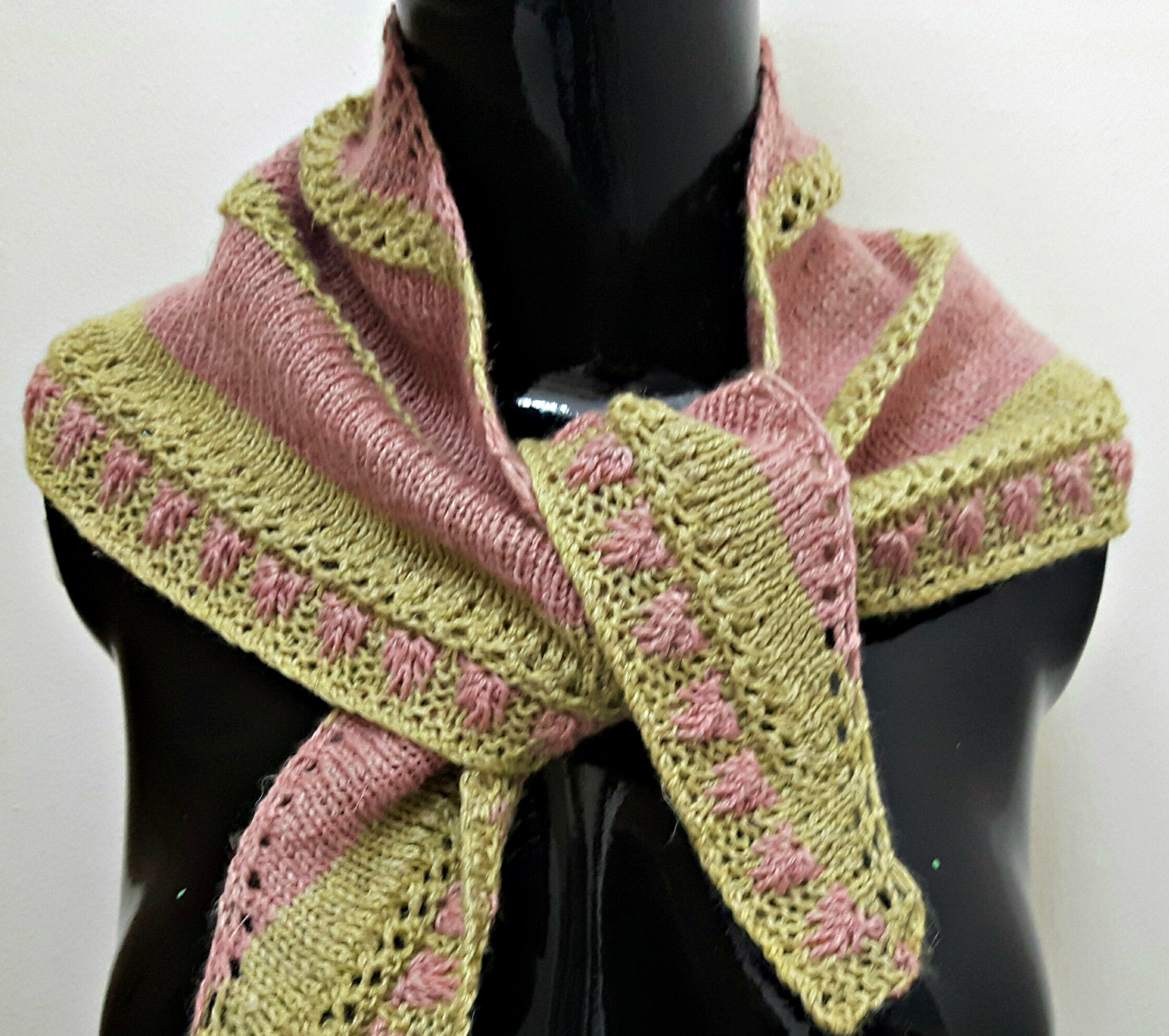 Hand Knit Scarf Pattern Raspberries And Lime Linen Blend Bandana Style Hand Knit Scarf