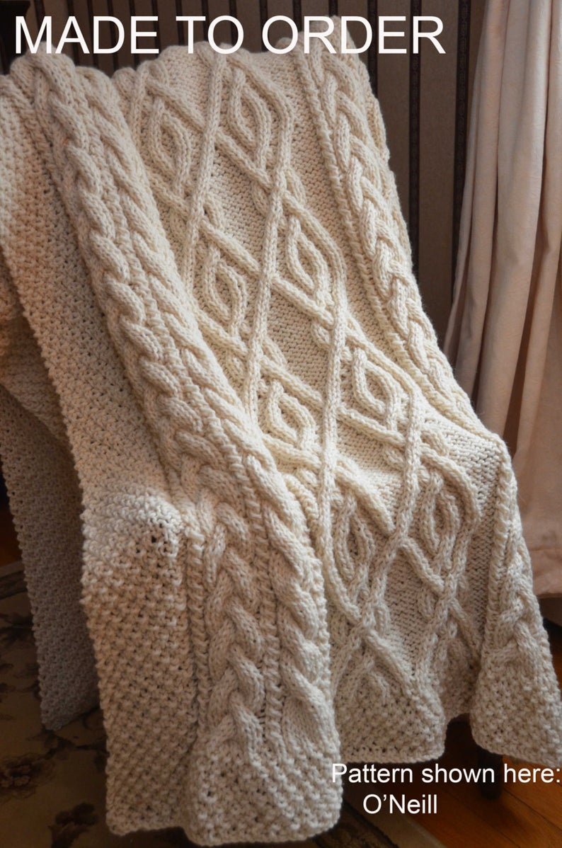 Hand Knitted Throw Patterns Extra Large Irish Fisherman Inspired Hand Knit Throw Blanket Made To Order
