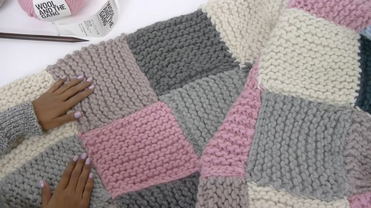 Hand Knitted Throw Patterns How To Knit A Patchwork Blanket With Pictures Wikihow
