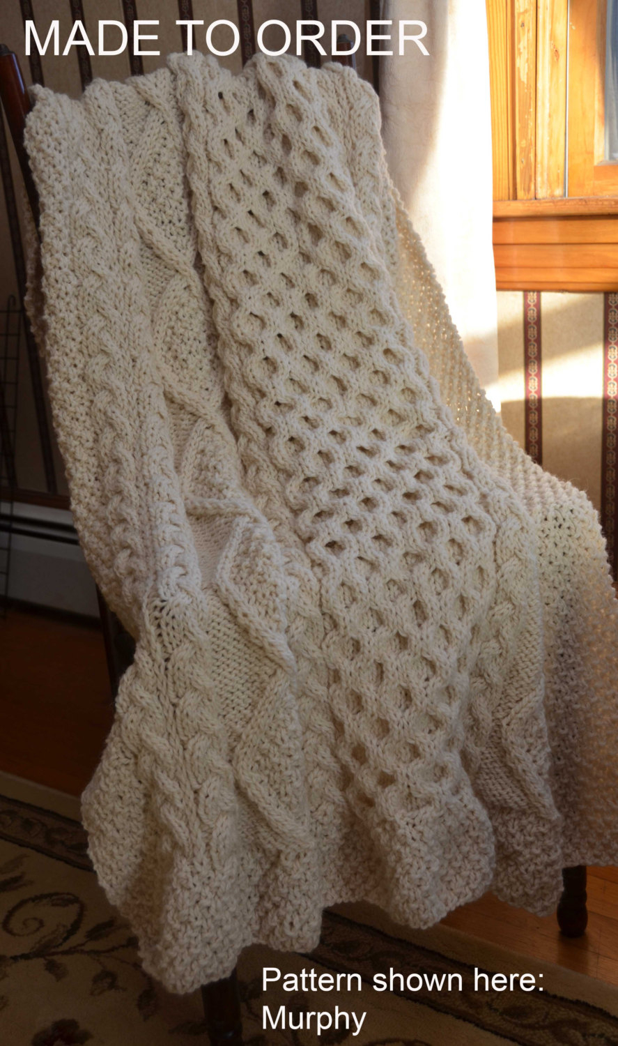Hand Knitted Throw Patterns Irish Fisherman Inspired Hand Knit Throw Blanket Made To Order