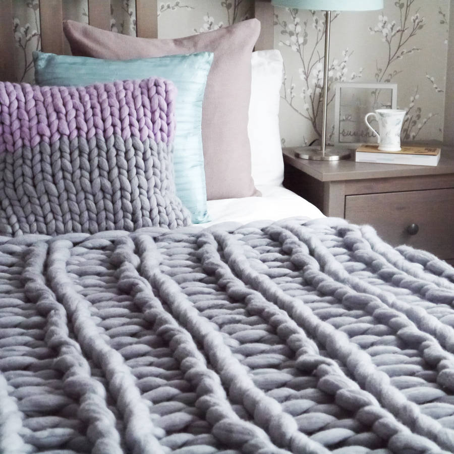 Hand Knitted Throw Patterns Yarnscombe Chunky Hand Knitted Throw