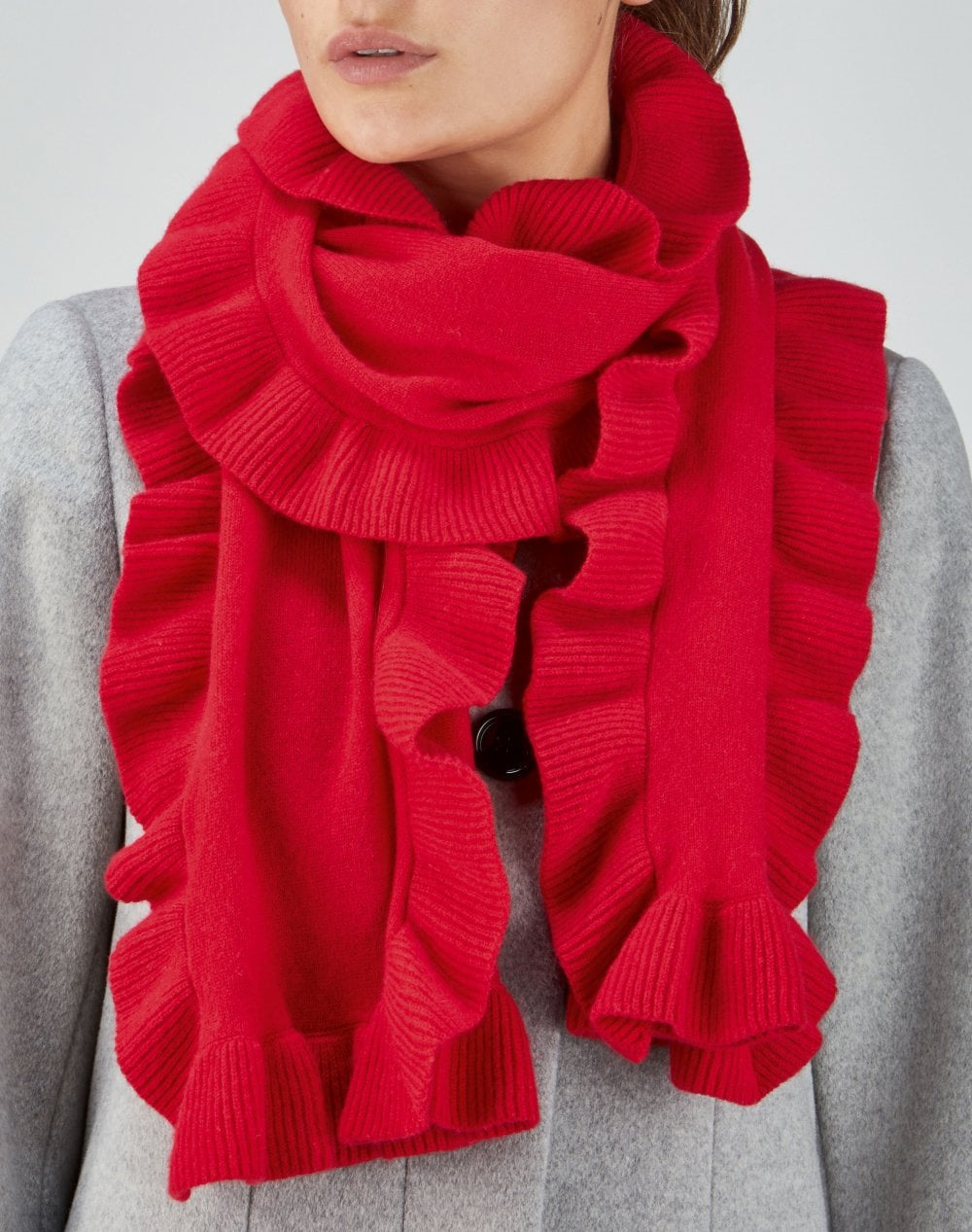How To Knit A Ruffle Scarf Free Pattern Cashmere Ruffle Scarf Pillarbox Red