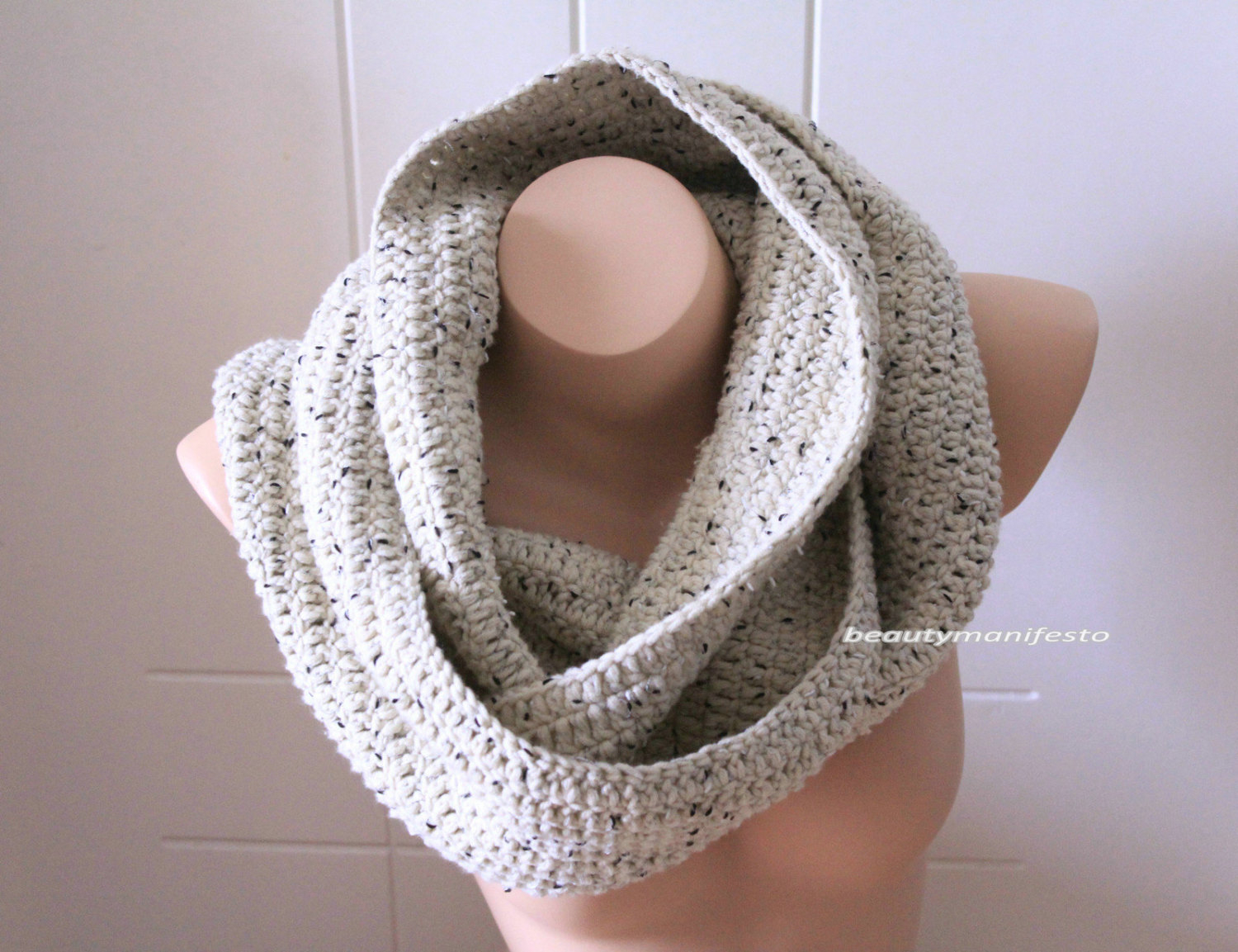 Infinity Scarf Knitting Pattern Chunky Free Oversized Knit Scarfoversized Chunky Infinity Scarf In Oatmeal Brown Colorcrochet Infinity Scarves Mens Scarvesfree Shpping