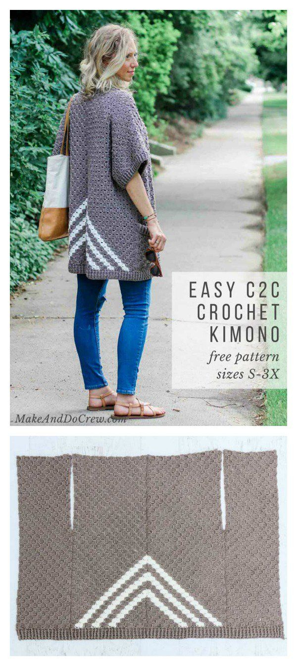 Kimono Sweater Knitting Pattern Womens Sweater Knitting Patterns Easy C2c Kimono Sweater Free