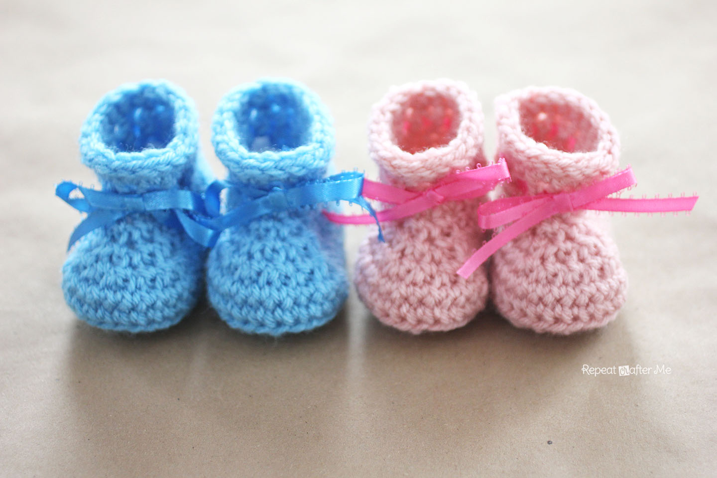 Knit Booties Pattern Free Crochet Newborn Ba Booties Pattern Repeat Crafter Me