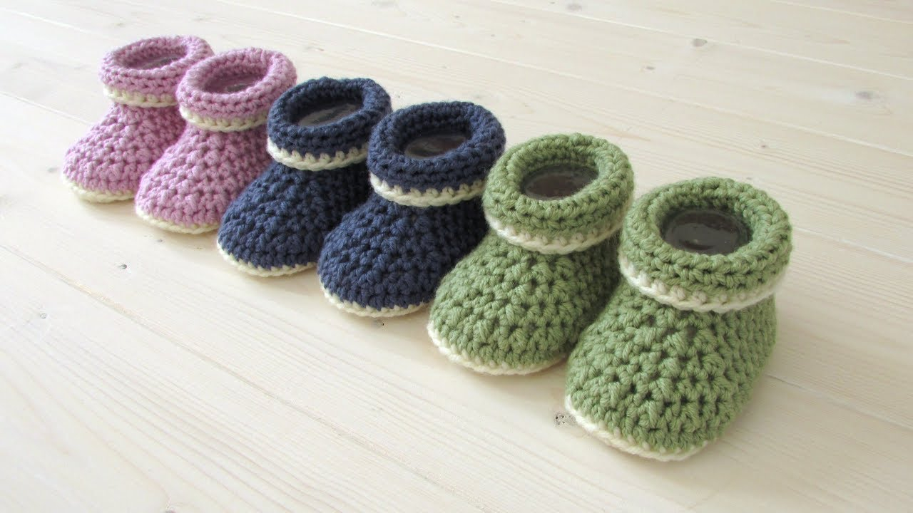 Knit Booties Pattern Free How To Crochet Cuffed Ba Booties For Beginners Beginners Ba Shoes