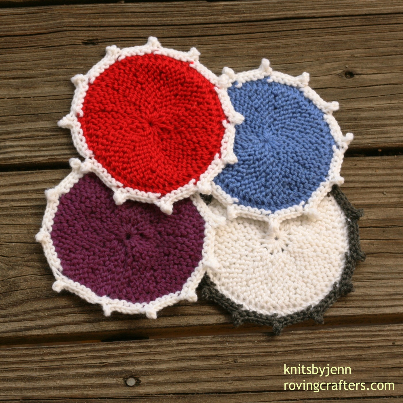 Knit Circle Pattern Coasters In Color A Free Knit Pattern Roving Crafters