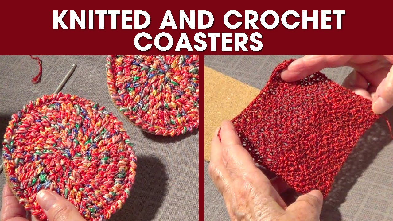 Knit Circle Pattern Knitted And Crochet Coasters Diy Gift 2 Round And Square