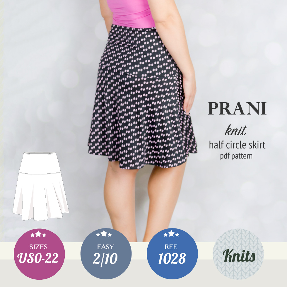 Knit Circle Pattern Prani Half Circle Wide Band Knit Skirt Pdf