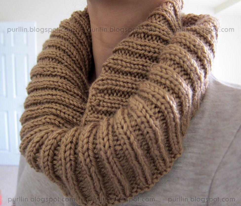 Knit Circle Pattern Purllin Autumn Infinity Circle Scarf Free Pattern