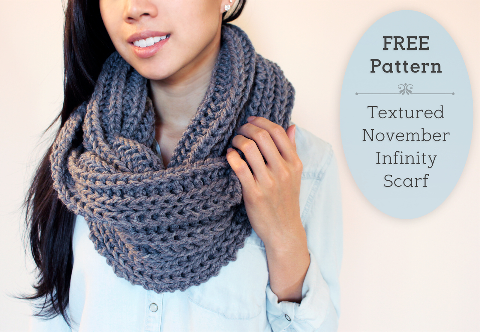 Knit Circle Pattern Purllin Textured November Infinity Scarf Free Pattern