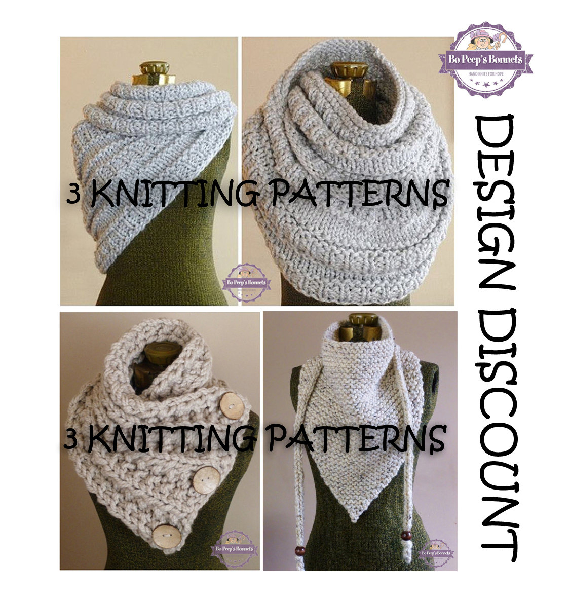 Knit Cowl Scarf Pattern 3 Knitting Patterns Knit Cowl Scarf Pattern Design Discount Huntress Cowllancaster Scarftriangle Scarf Combo Pack Scarf Patterns