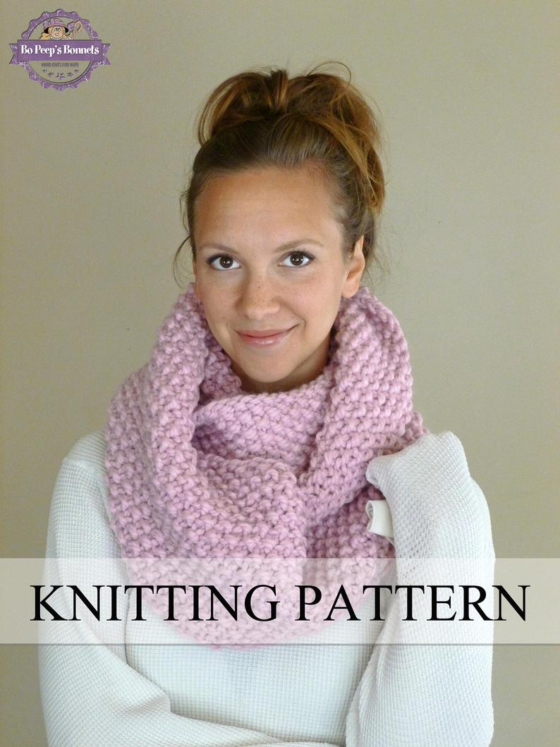 Knit Cowl Scarf Pattern Knitting Pattern Knit Cowl Pattern Knit Infinity Scarf Pattern Knitted Chunky Textured Cowl Pattern Neckwarmer Pattern Circle Scarf