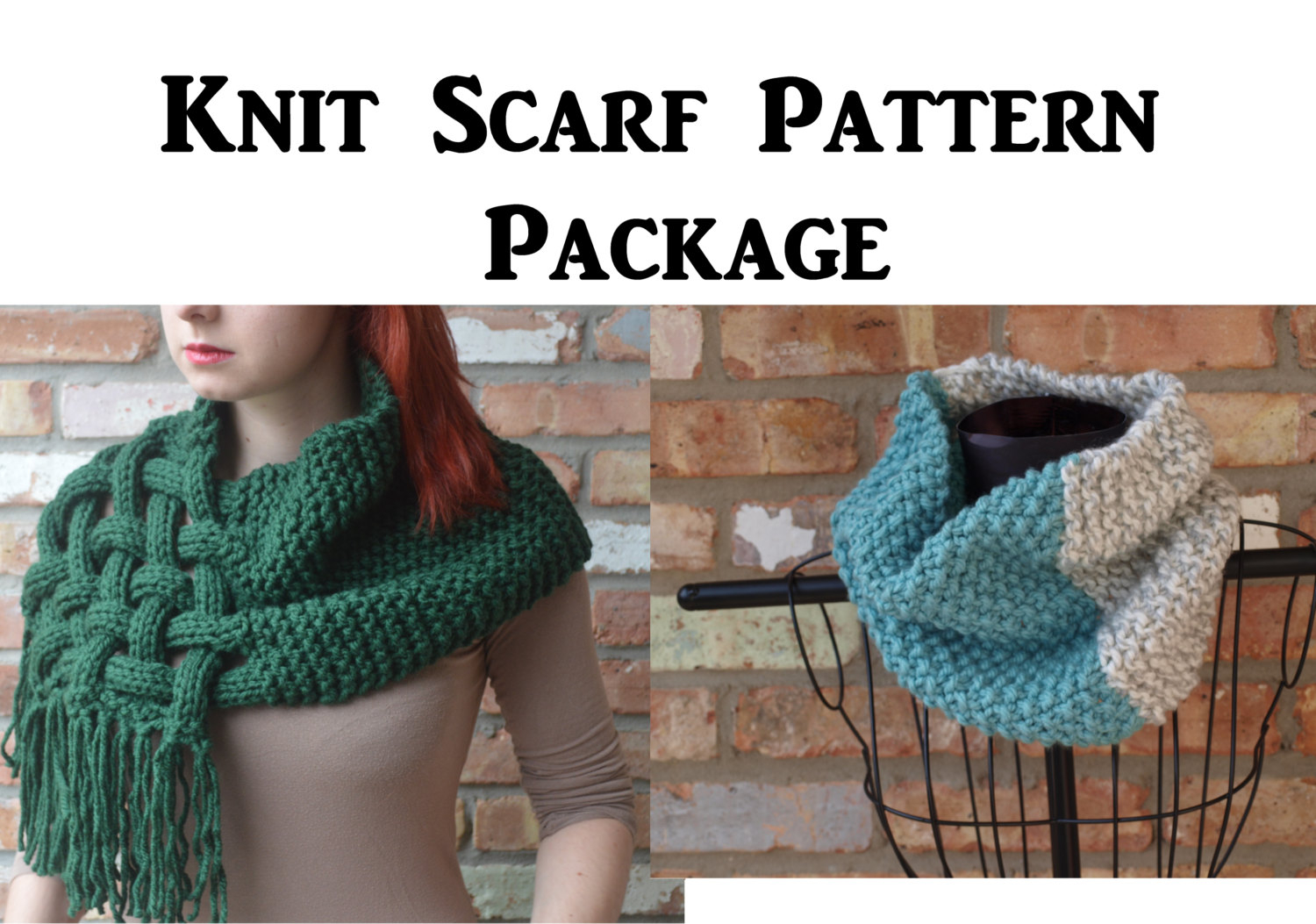 Knit Cowl Scarf Pattern Pattern Sale Knit Cowl Scarf Pattern Package Of 2 Knit Woven Scarf Knit Cowl Scarf Cowl Knitting Pattern Tutorial