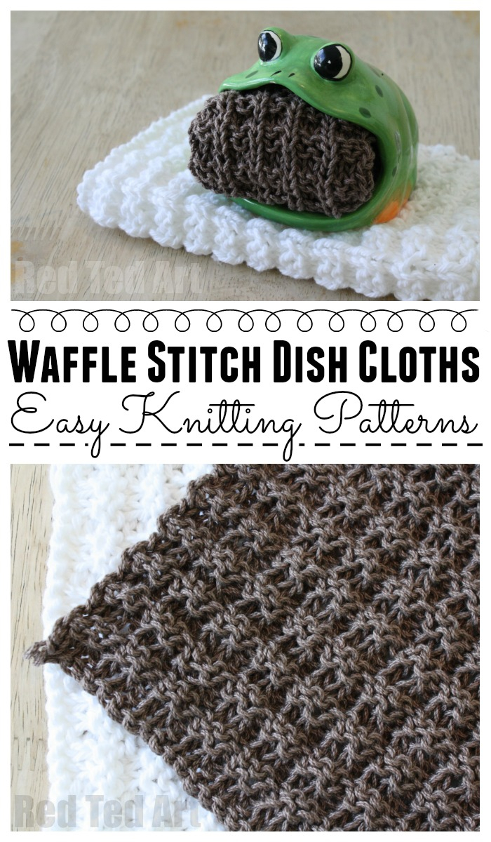 Knit Dishcloth Patterns For Beginners Waffle Stitch Dish Cloth Knitting Pattern Red Ted Art
