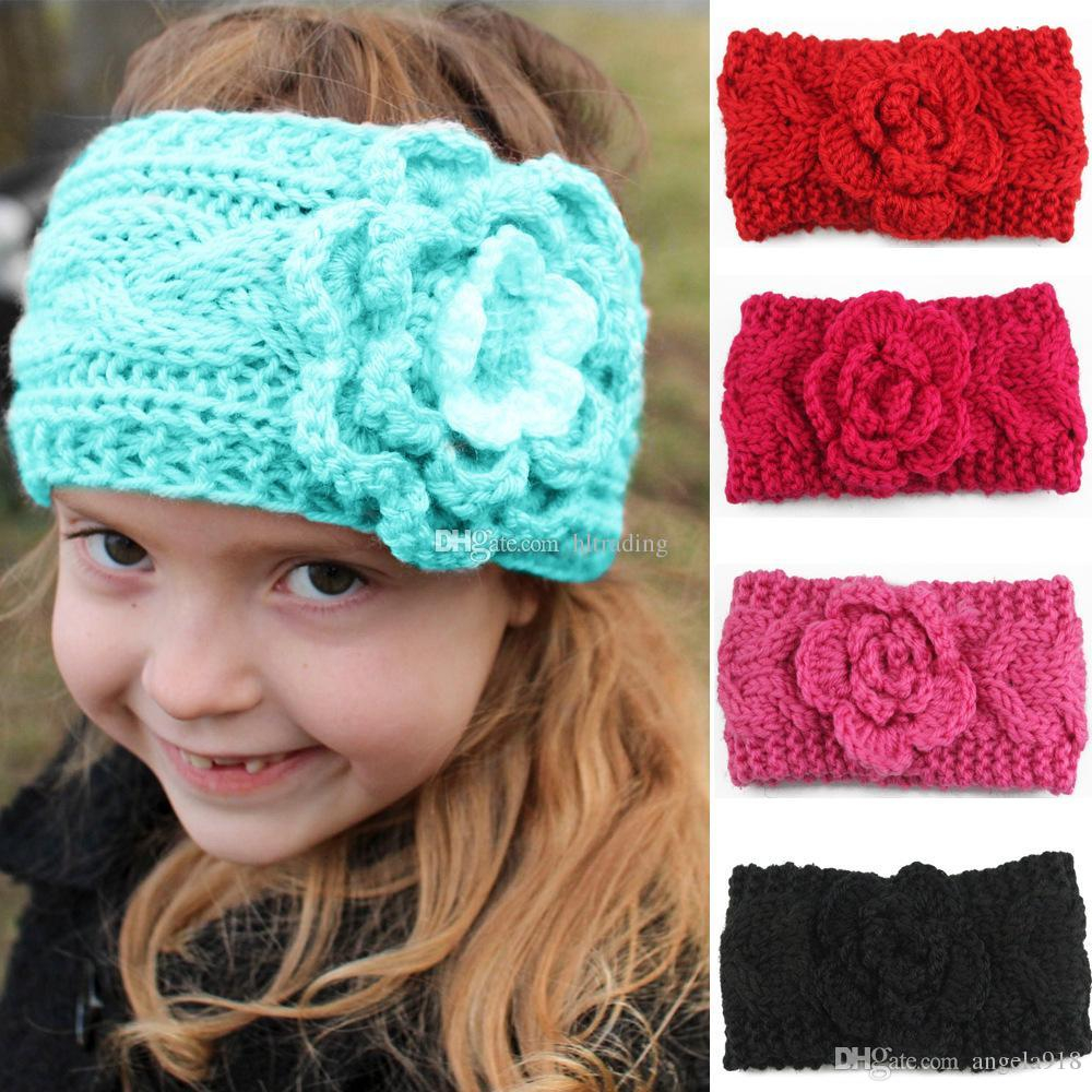 Knit Headband Pattern With Flower Children Girls Winter Knitting Crochet Headbands Ba European Style Bandanas Flowers Braided Headscarf Kids Beanies Cap C5422