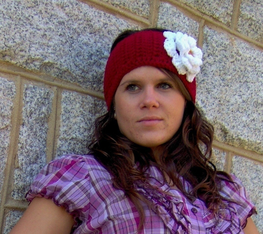 Knit Headband Pattern With Flower Crochet Flower Earwarmer How To Stitch A Knit Or Crochet Headband