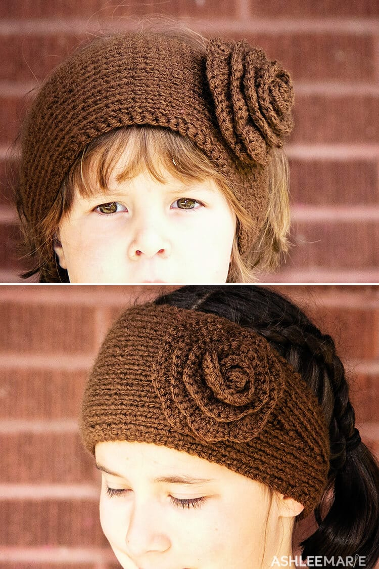 Knit Headband Pattern With Flower Knit Ear Warmer Pattern With Flower Crochet Ashlee Marie Real