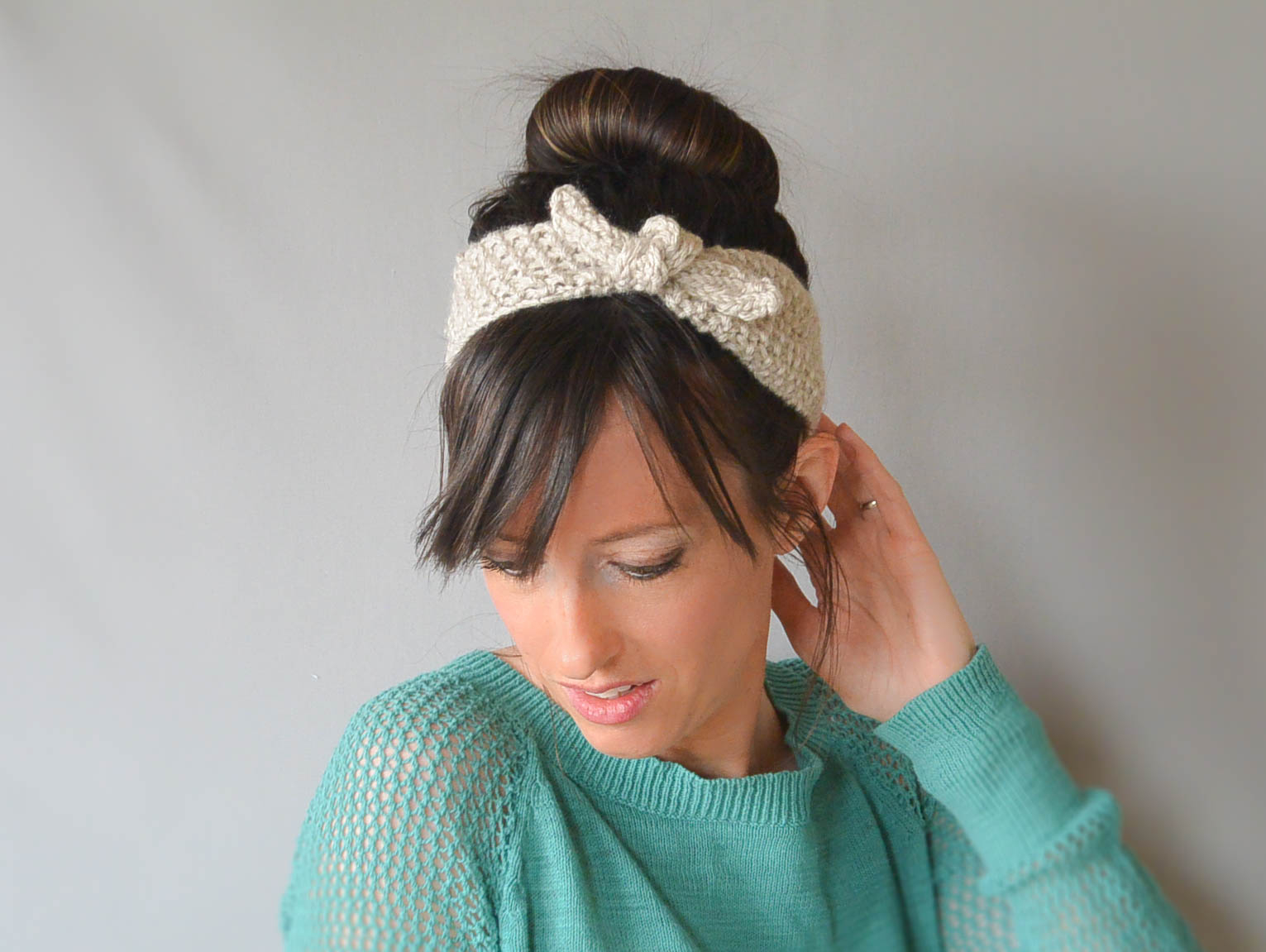 Knit Headband Pattern With Flower Knit Headband To Style Your Hair Crochet And Knitting Patterns 2019