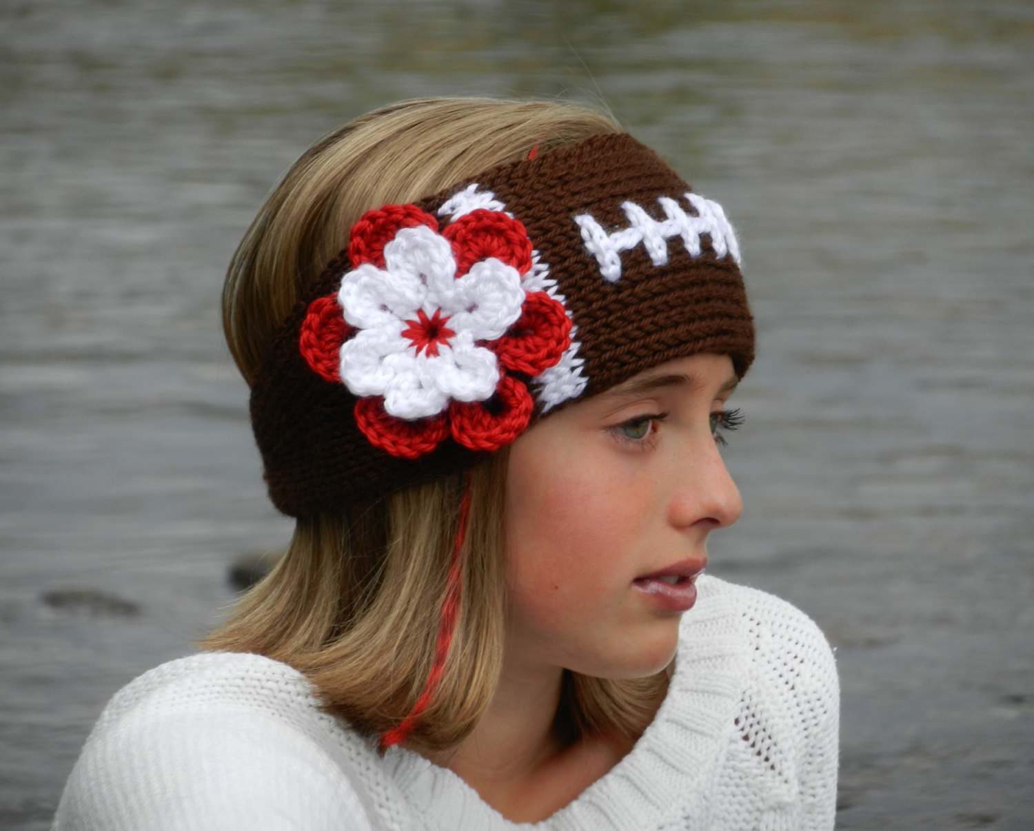 Knit Headband Pattern With Flower Tunisian Knit Look Crochet Football Headband Earwarmer Pattern With Flower Tunisian Crochet Football Headband Pattern Instant Download