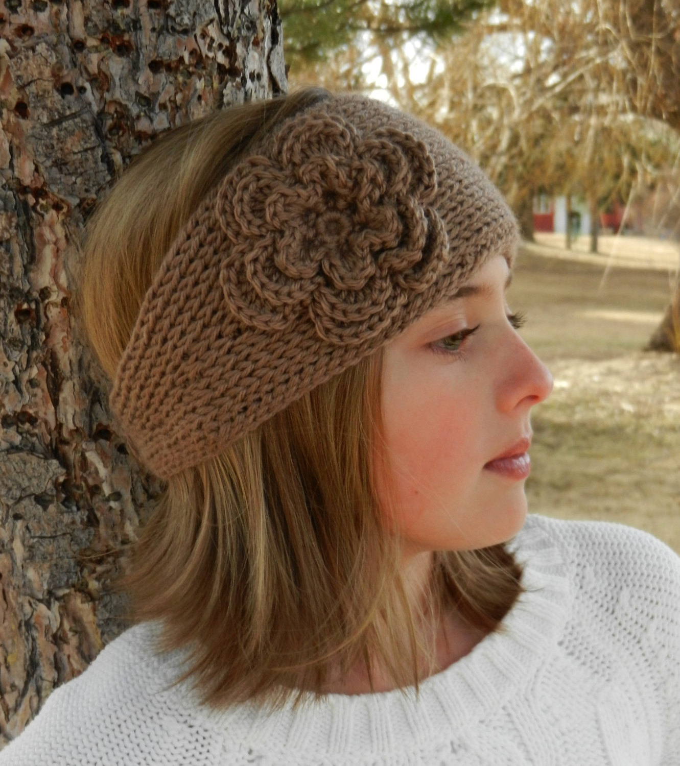 Knit Headband Pattern With Flower Tunisian Knit Look Crochet Headband Pattern With Flower Tunisian Crochet Headband Earwarmer Pattern With Flower Instant Download
