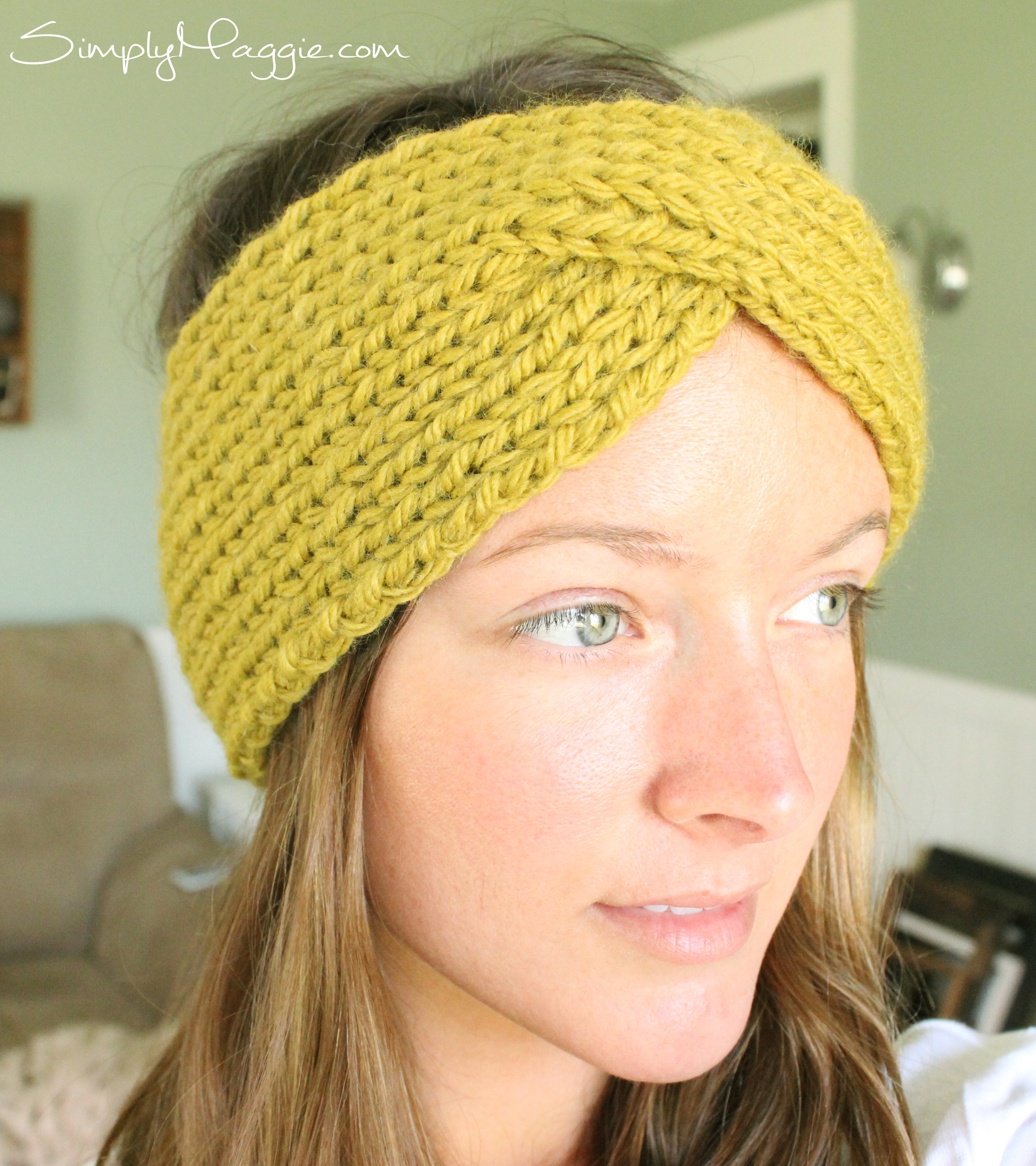 Knit Headband Pattern With Flower Turban Style Knit Headband Simplymaggie