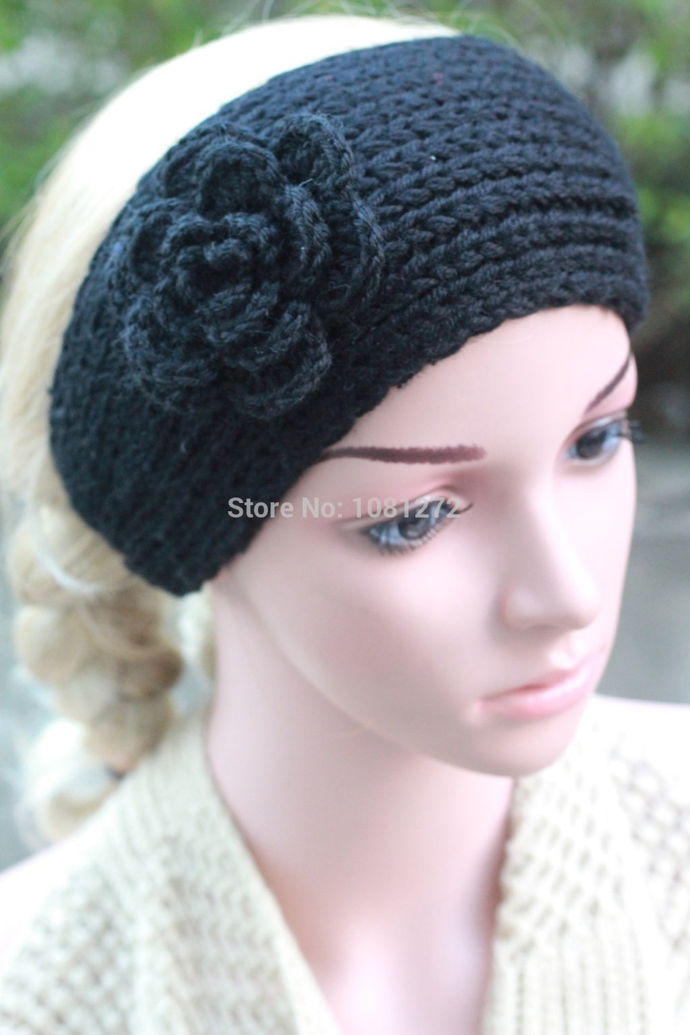 Knit Headband Pattern With Flower Us 529 Black Knit Headbandsmall Flower Headbandearwarmerhair Accessorieshead Wrapheadband Patternfall And Winter Hair Accessory In Womens