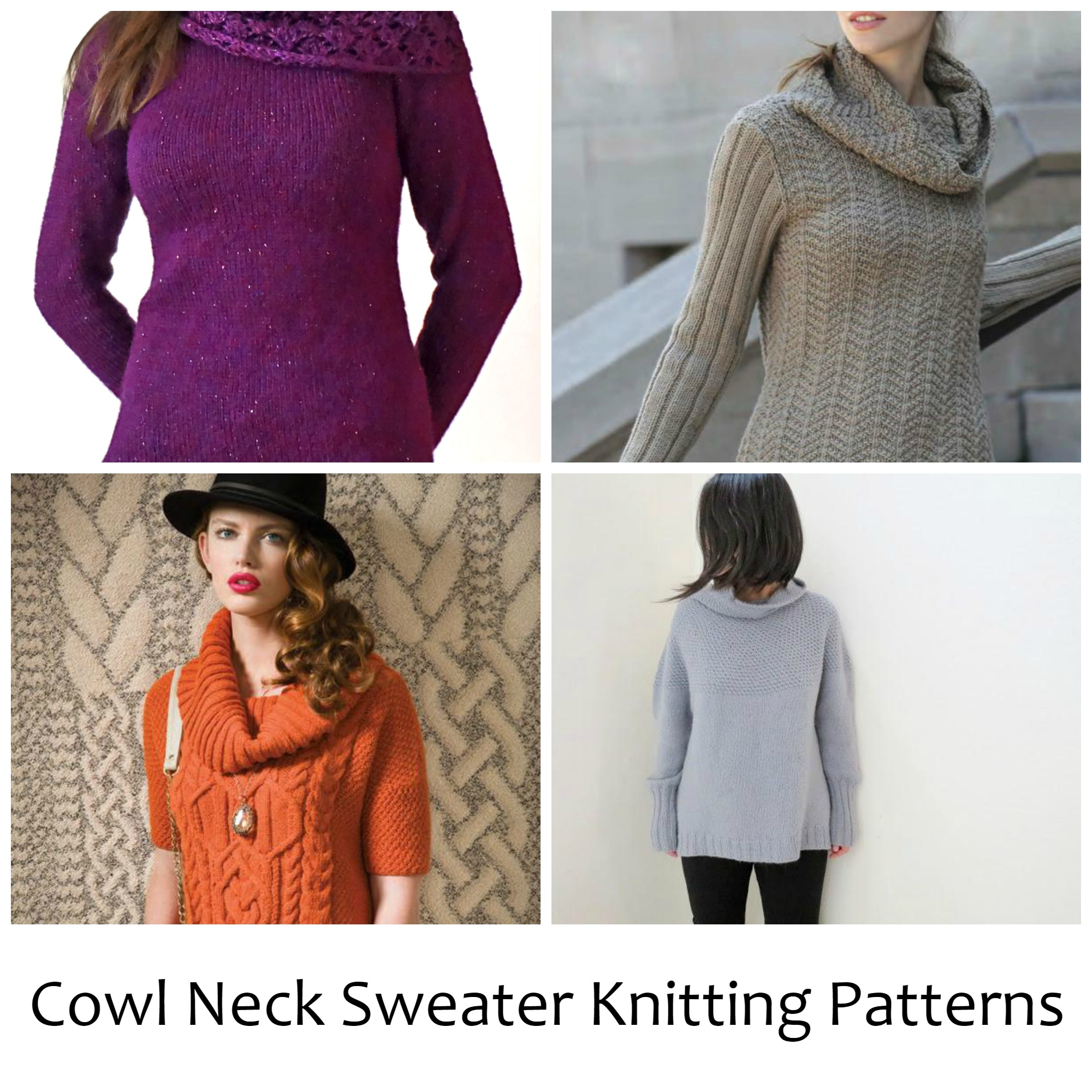 Knit Jumper Pattern 10 Cozy Cowl Neck Sweater Knitting Patterns