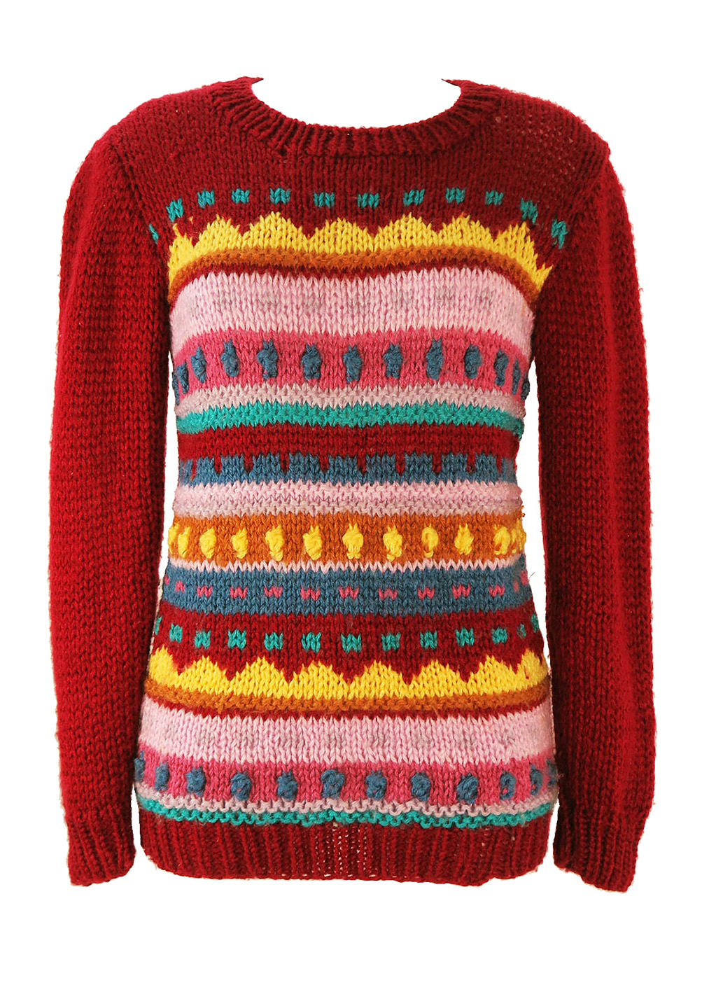 Knit Jumper Pattern Burgundy Knit Jumper With Multi Colour Striped Pattern S Reign