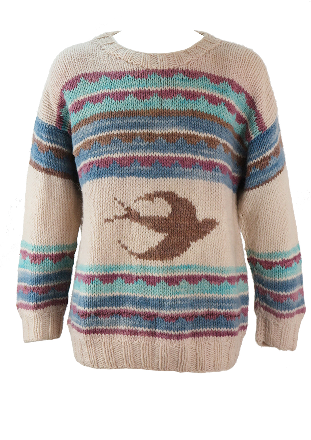 Knit Jumper Pattern Cream Knit Jumper With Stripes And Swallow Pattern Lxl Reign