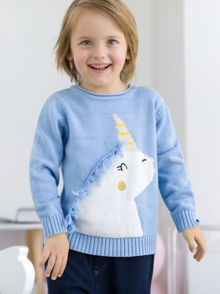 Knit Jumper Pattern Wholesale Cute Unicorn Pattern With Tassel Cotton