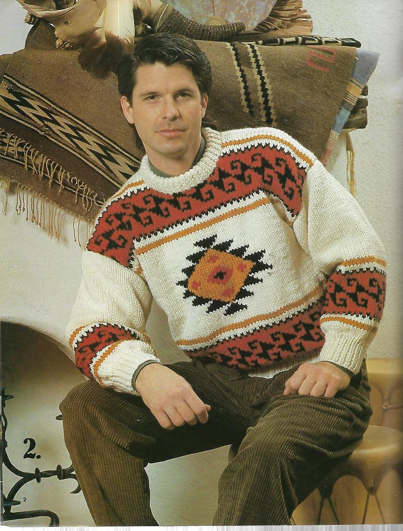Knit Sweaters Patterns Aran Jacket Pattern Southwest Pullover Navajo Jacket His And Her Fair Isle Knit Sweaters Patons Portage Knitting Graph Patterns 1990s