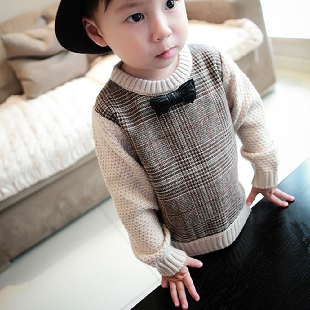Knit Sweaters Patterns Cute Ba Boys Casual Sweater Girls O Neck Bowknot Knitted Sweaters Kids Knit Loose Top Brown Pullover For Children 1 3 Years