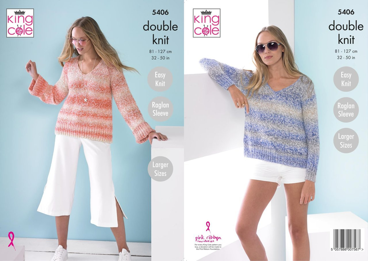 Knit Sweaters Patterns King Cole 5406 Knitting Pattern Womens Easy Knit Sweaters In King Cole Caribbean Calypso Dk