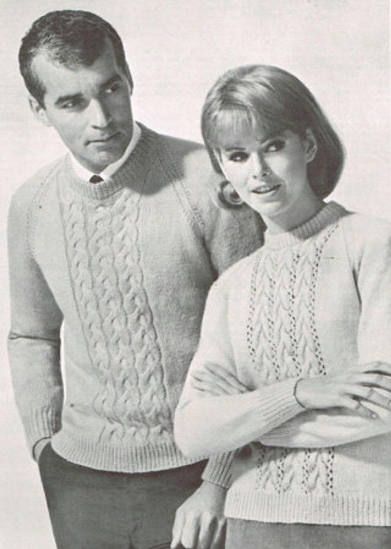 Knit Sweaters Patterns Vintage Knitting Pattern For Men And Women Cable Knit Sweater Pattern His And Hers 60s 1960s Pdf Matching Sweaters