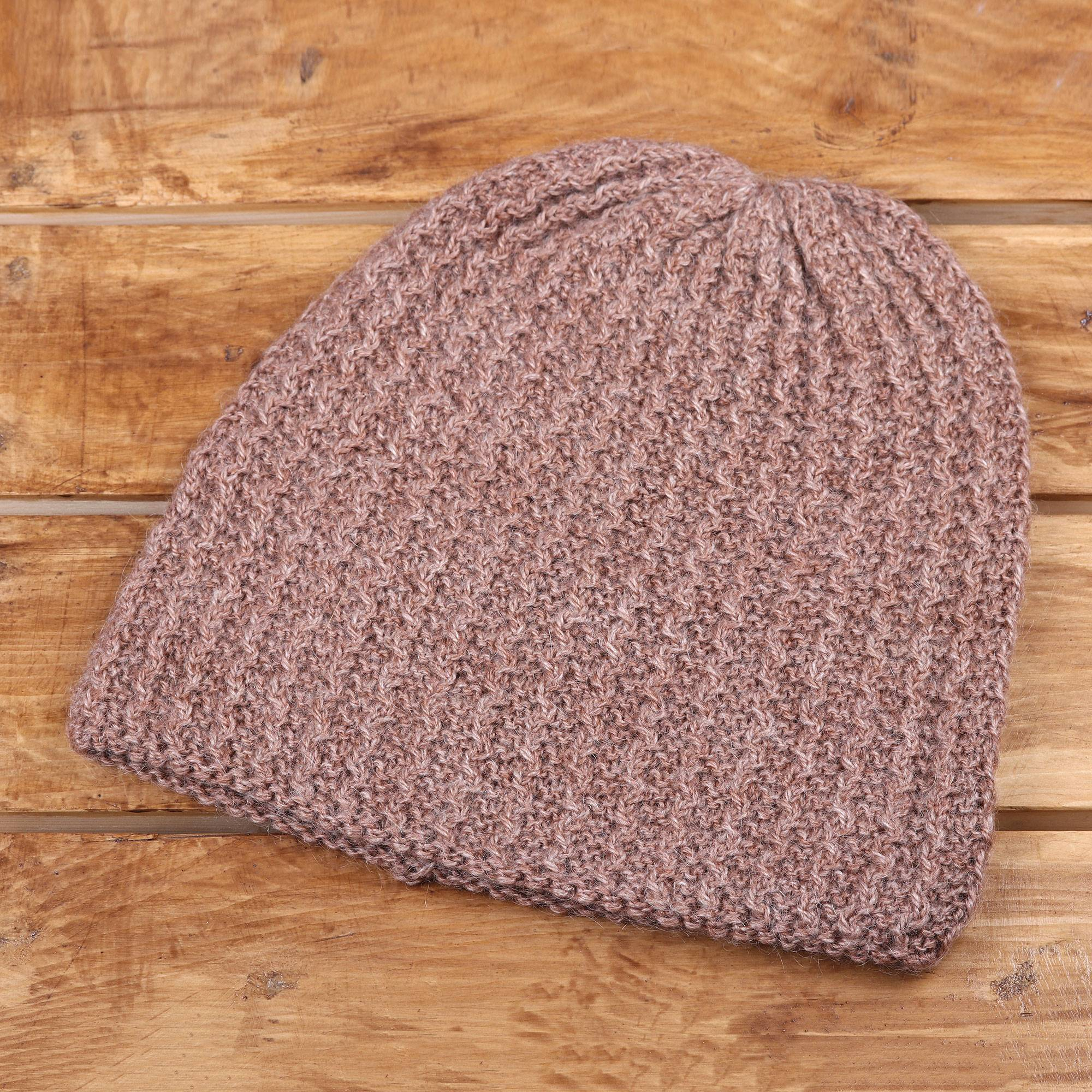 Knit Zig Zag Pattern Rosewood Brown Hand Knit Zig Zag Ribbed Wool Blend Hat Himalayan Waves Rosewood