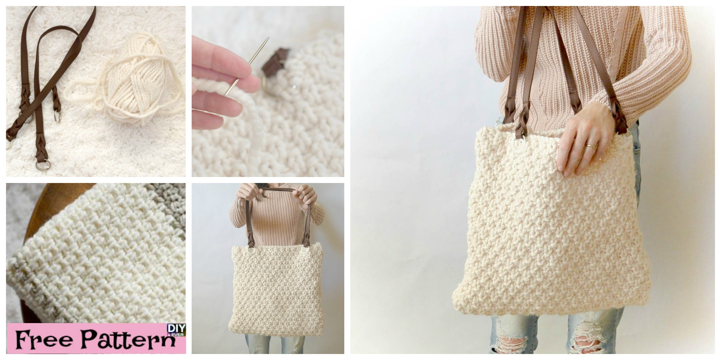 Knitted Bag Pattern Double Seed Stitch Knit Bag Free Pattern Diy 4 Ever