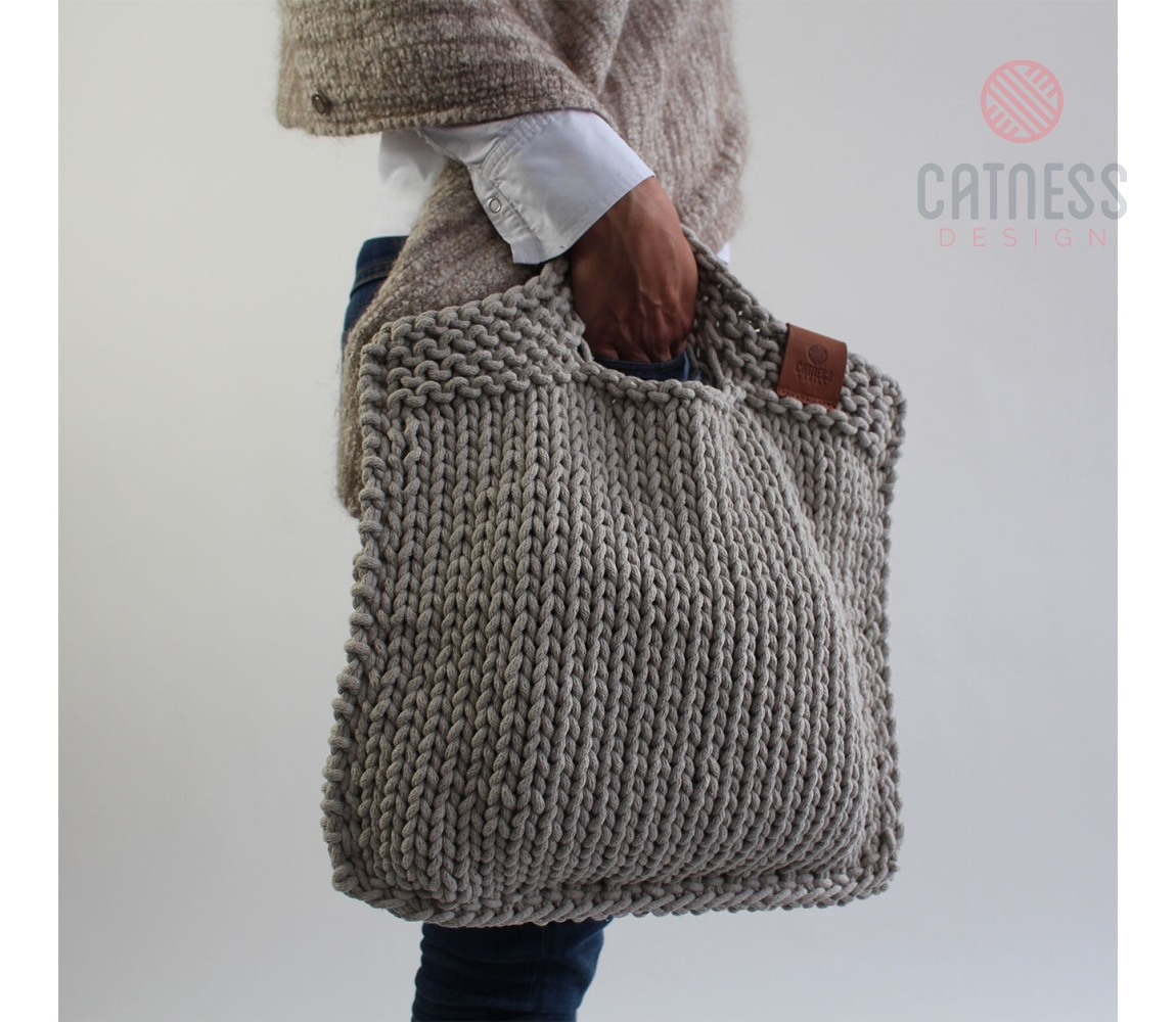 Knitted Bag Pattern Hand Knitted Purse B103 Light Grey
