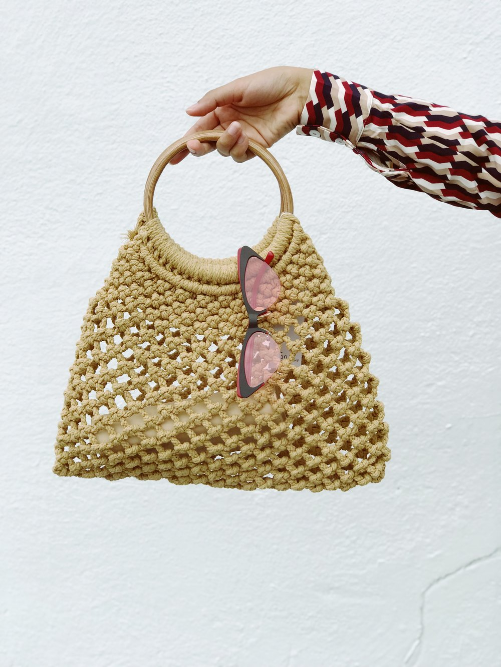 Knitted Bag Pattern Knitted Bag With Bamboo Handle Please Dont Tell