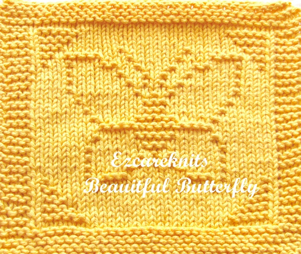 Knitted Butterfly Dishcloth Pattern Beautiful Butterfly Knitting Pattern Face Cloth Spa Cloth Blanket Square Handicraft Quick Knit Dishcloth Washcloth Needlecraft