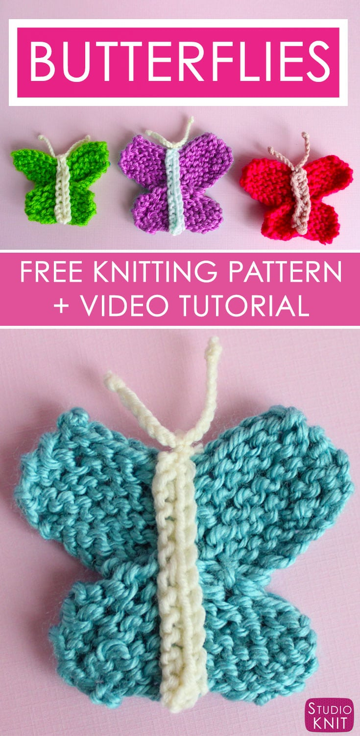 Knitted Butterfly Dishcloth Pattern How To Knit A Butterfly Knitting Pattern Studio Knit