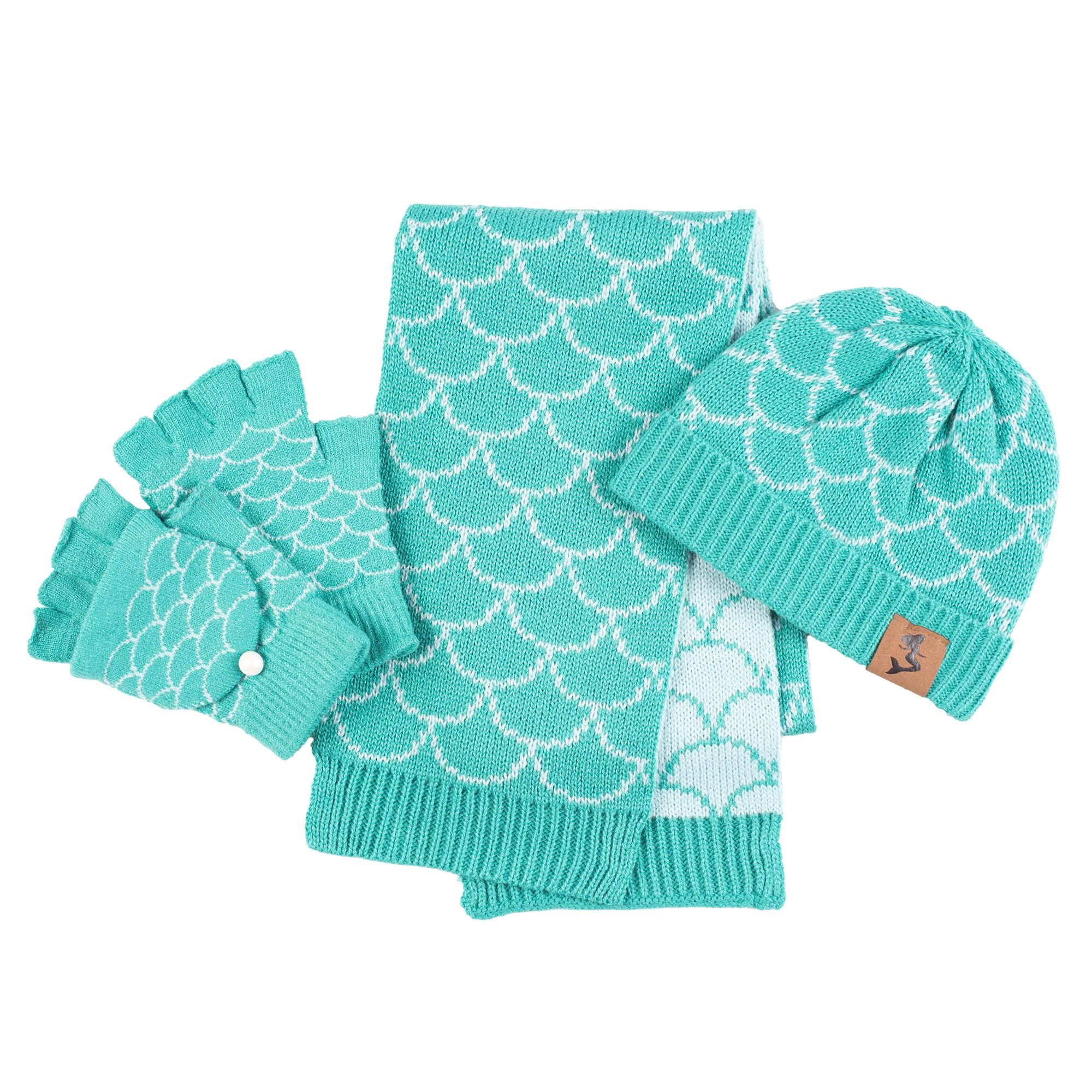Knitted Butterfly Dishcloth Pattern Mermaid Hat Mitten Scarf Set