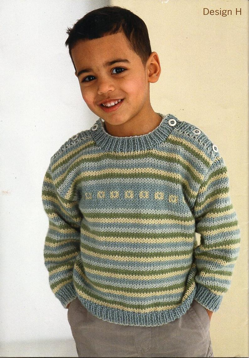 Knitted Childrens Sweaters Free Patterns Ba Childrens Sweater Knitting Pattern Pdf Download Button Shoulder Striped Or Plain Jumper 16 26 Aran Worsted 10ply Pdf Instant Download