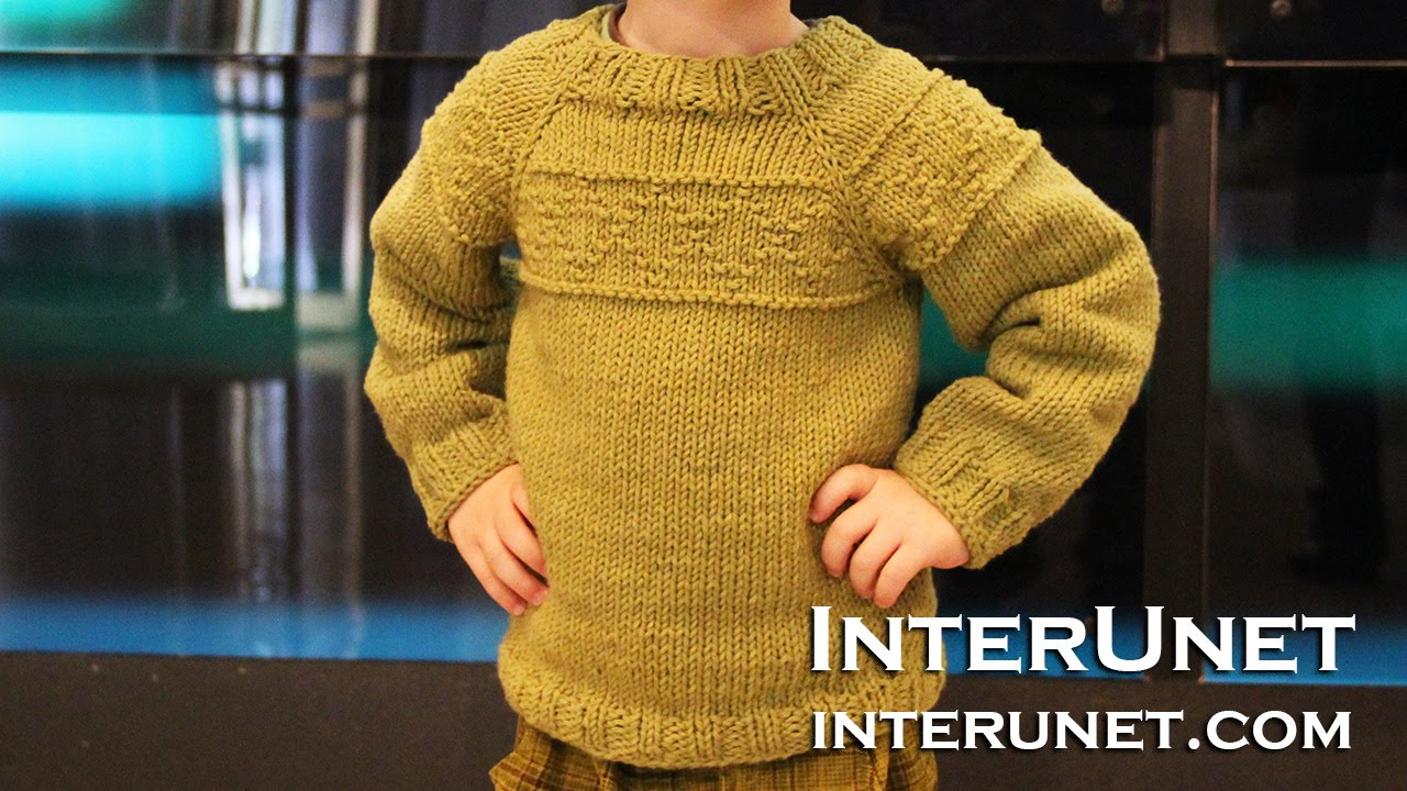 Knitted Childrens Sweaters Free Patterns Knit A Raglan Sleeve Sweater For A Toddler Boy Rhombus Pattern